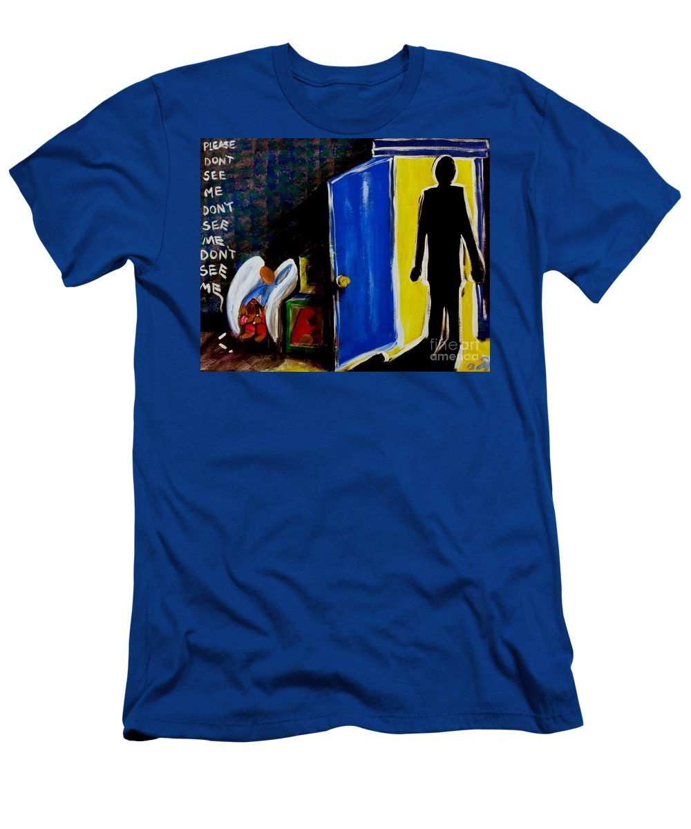 Don't Men's T-Shirt (Athletic Fit) featuring the painting Don't See Me by Jackie Carpenter