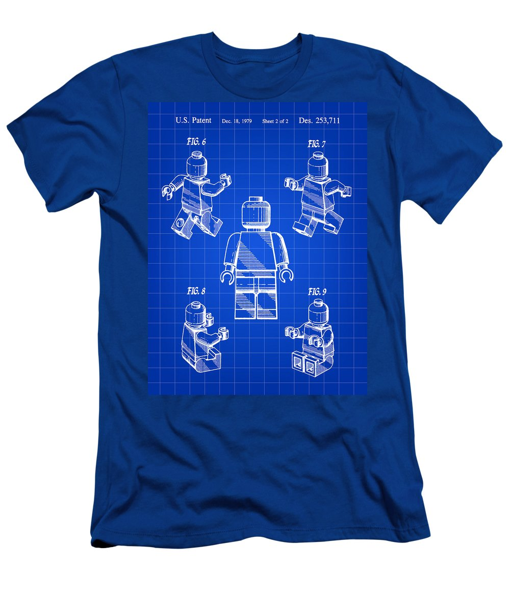 Lego Men's T-Shirt (Athletic Fit) featuring the digital art Lego Figure Patent 1979 - Blue by Stephen Younts
