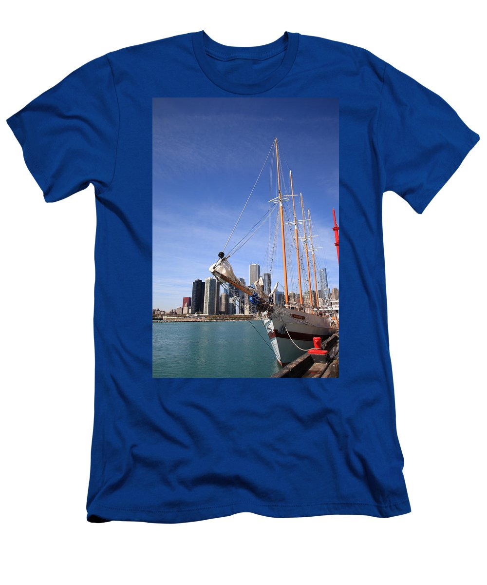 America Men's T-Shirt (Athletic Fit) featuring the photograph Chicago Skyline And Tall Ship by Frank Romeo
