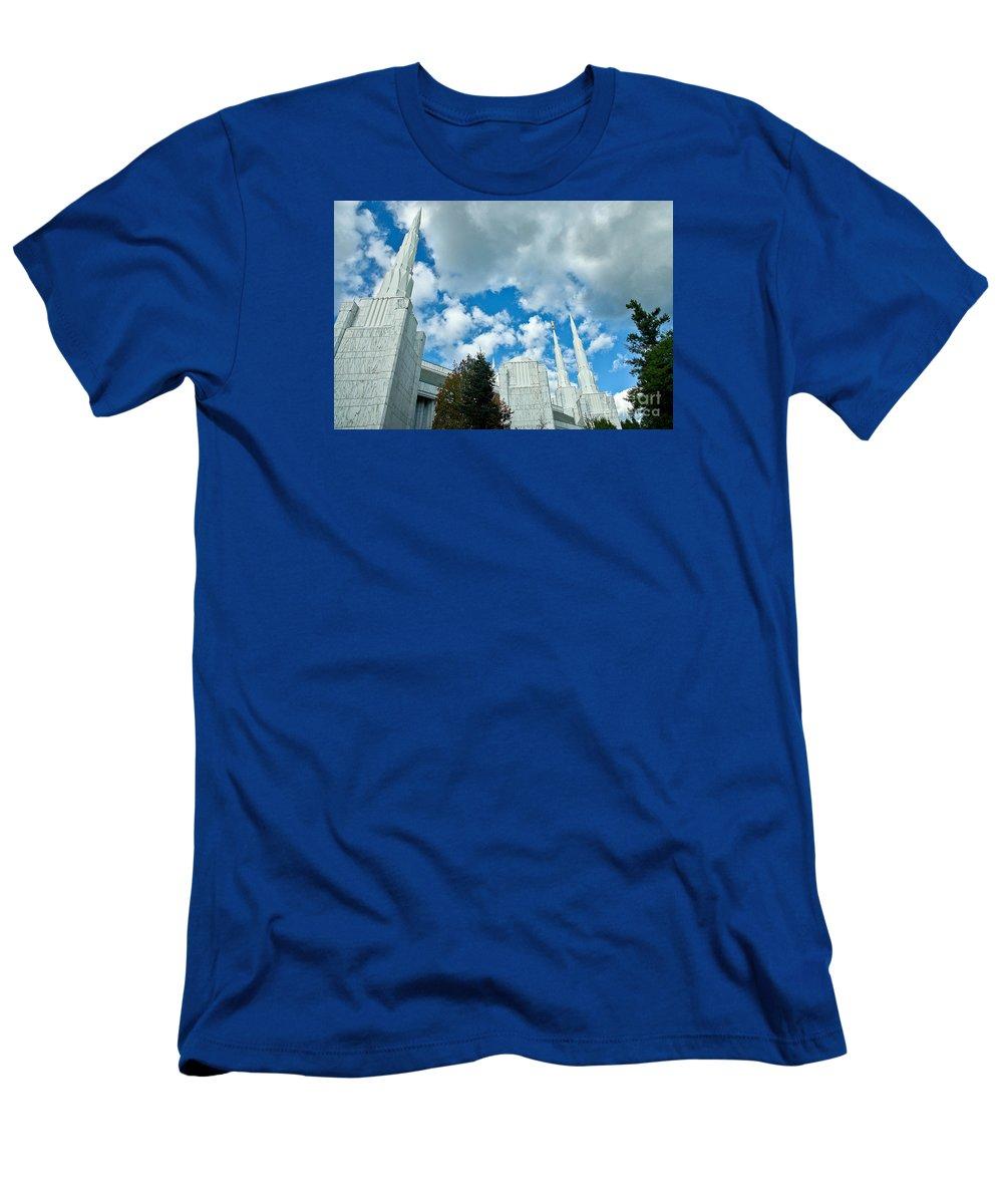 Pacific Men's T-Shirt (Athletic Fit) featuring the photograph Portland Oregon Lds Temple by Nick Boren