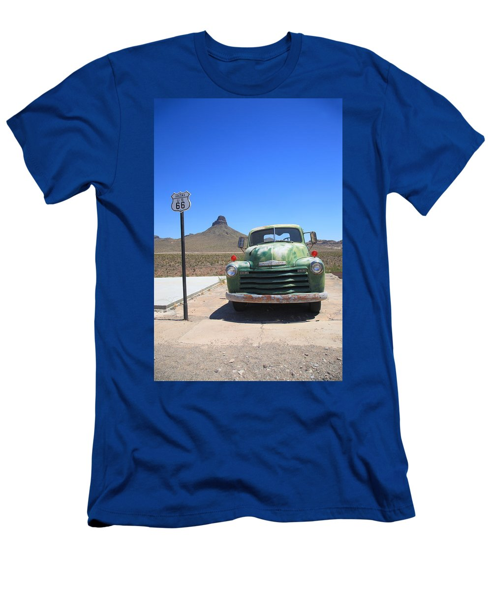 66 Men's T-Shirt (Athletic Fit) featuring the photograph Route 66 - Old Green Chevy by Frank Romeo