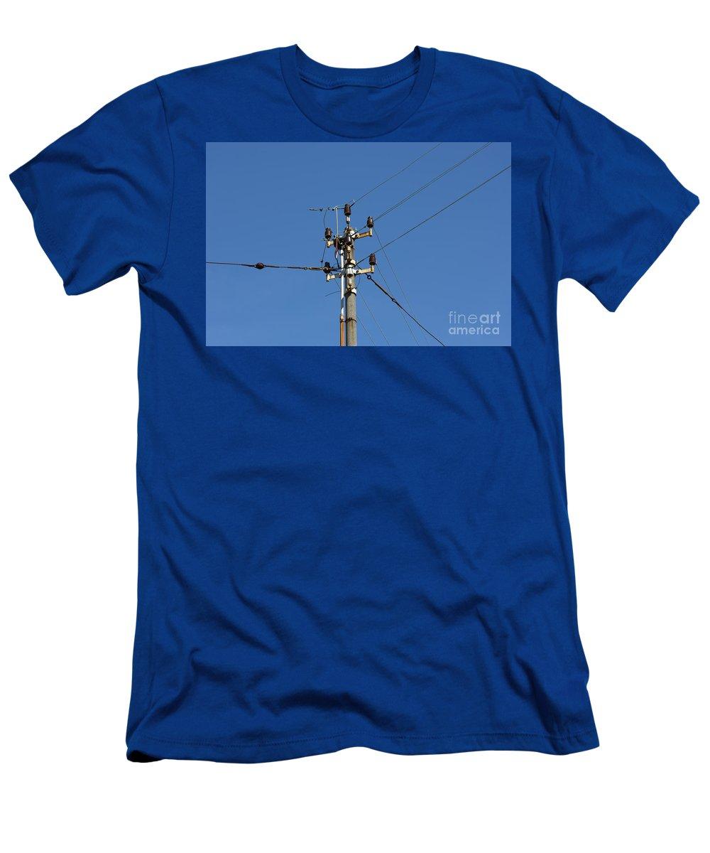 Electricity Pylon Men's T-Shirt (Athletic Fit) featuring the photograph Electric Pylon by Mats Silvan