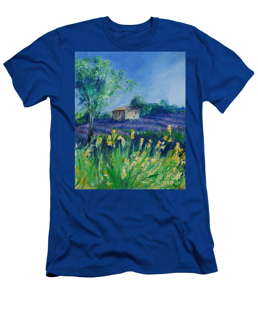 Provence Men's T-Shirt (Athletic Fit) featuring the painting Provence Lavender Field by Eric Schiabor