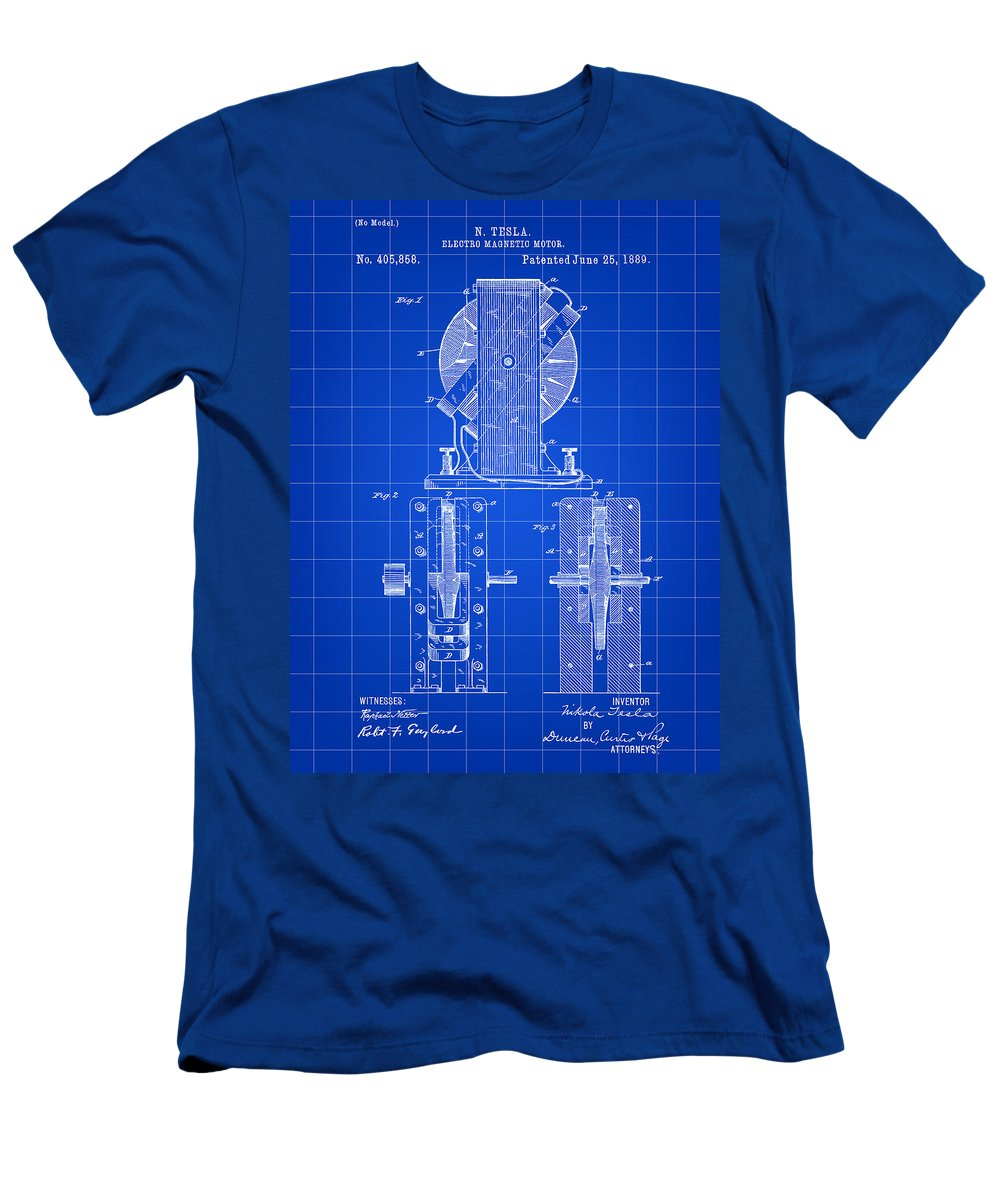 Tesla Men's T-Shirt (Athletic Fit) featuring the digital art Tesla Electro Magnetic Motor Patent 1889 - Blue by Stephen Younts