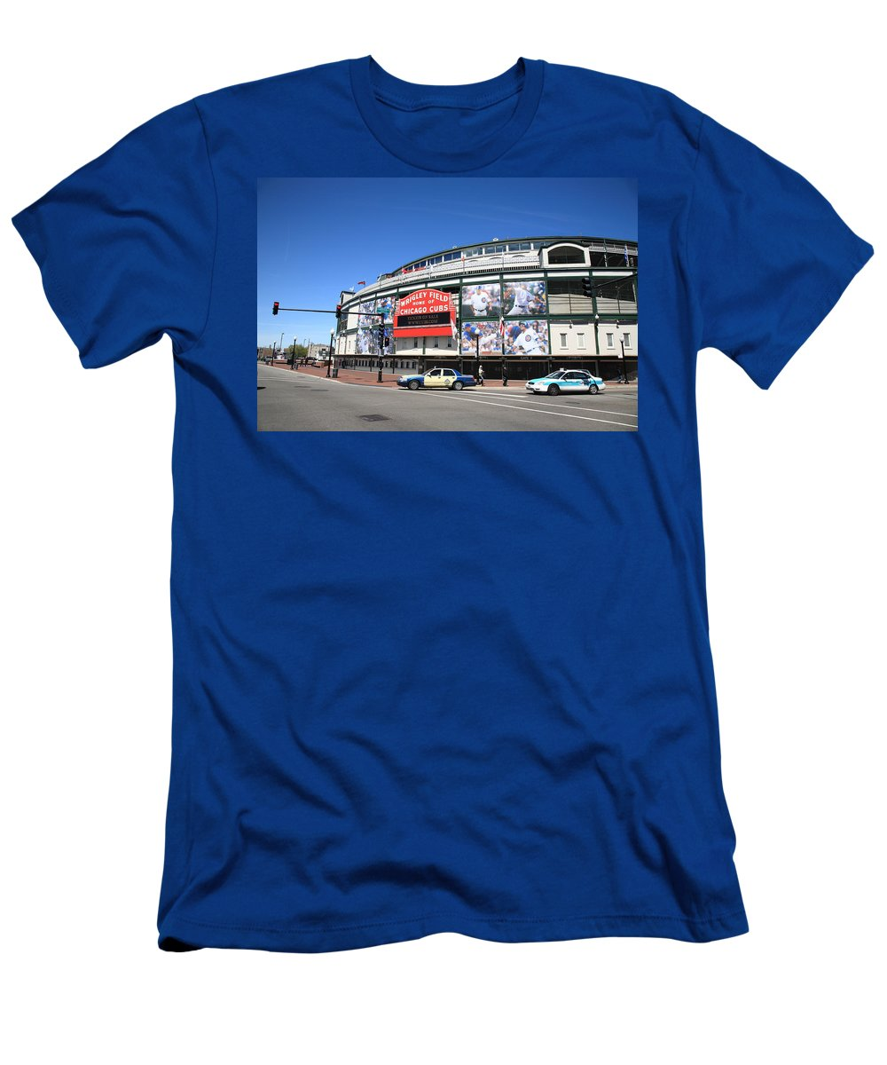 Addison Men's T-Shirt (Athletic Fit) featuring the photograph Wrigley Field - Chicago Cubs by Frank Romeo