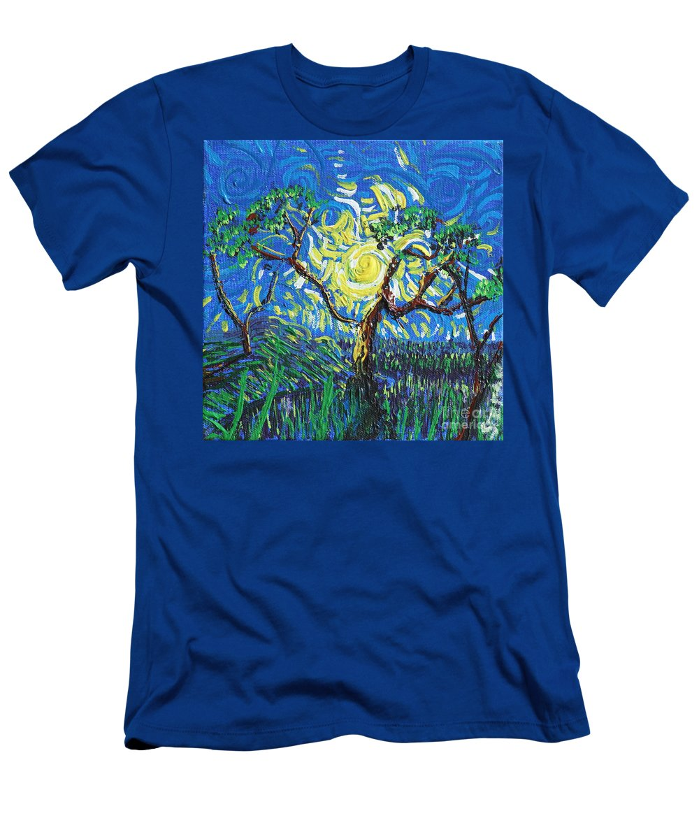 Landscape Men's T-Shirt (Athletic Fit) featuring the painting A Sunny Day For The Tree by Stefan Duncan