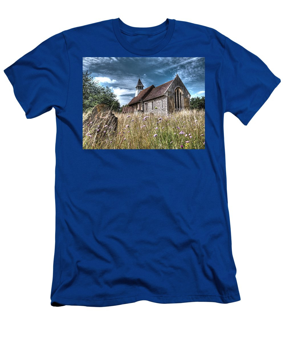 Church Men's T-Shirt (Athletic Fit) featuring the photograph Abandoned Grave In The Churchyard by Gill Billington