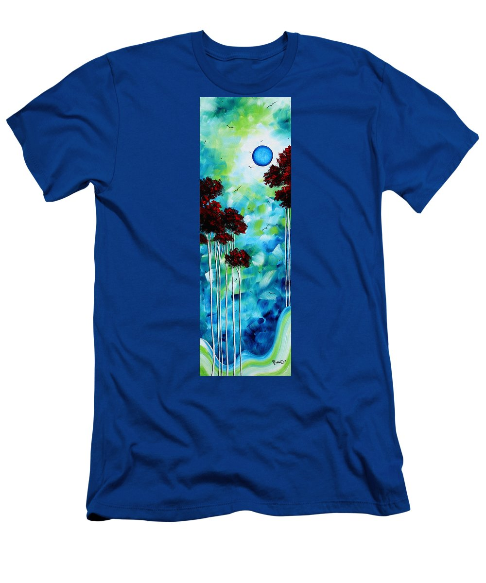 Abstract Men's T-Shirt (Athletic Fit) featuring the painting Abstract Landscape Art Original Tree And Moon Painting Blue Moon By Madart by Megan Duncanson