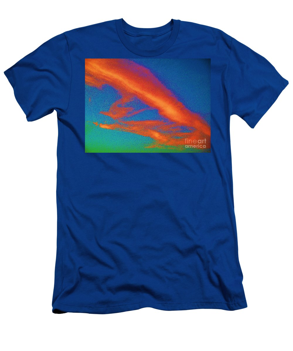 Abstract Men's T-Shirt (Athletic Fit) featuring the photograph Abstract Red Blue And Green Sky by Eric Schiabor