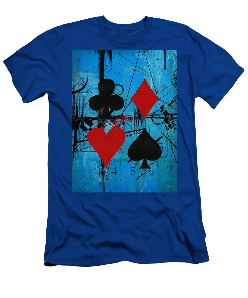 Cards Men's T-Shirt (Athletic Fit) featuring the painting Abstract Tarot Art 012 by Corporate Art Task Force