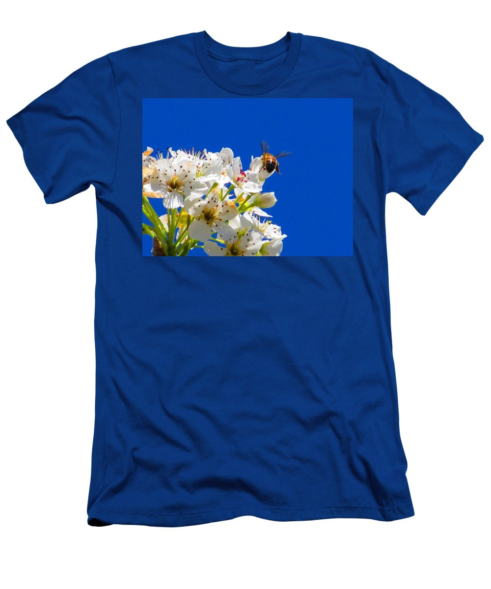 Flower's And Bee's Men's T-Shirt (Athletic Fit) featuring the photograph Against A Blue Sky by Kathy R Thomas