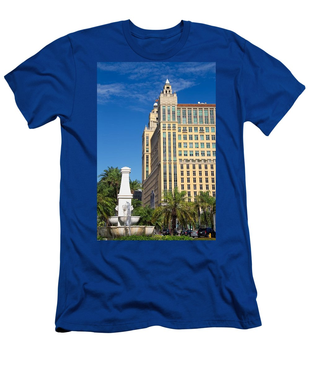 Alhambra Men's T-Shirt (Athletic Fit) featuring the photograph Alhambra Towers - 1 by Rudy Umans
