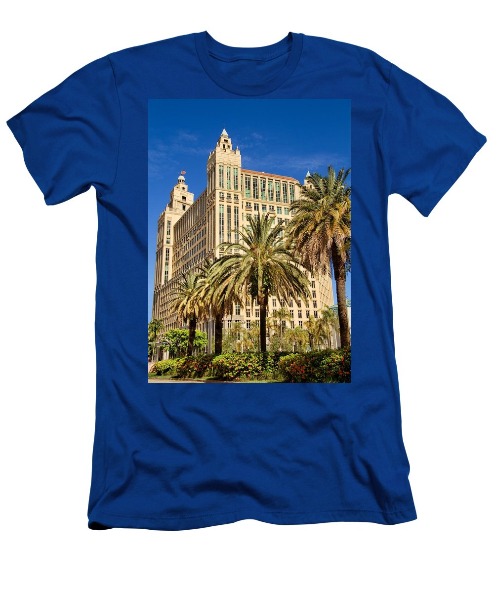 Alhambra Men's T-Shirt (Athletic Fit) featuring the photograph Alhambra Towers - 2 by Rudy Umans