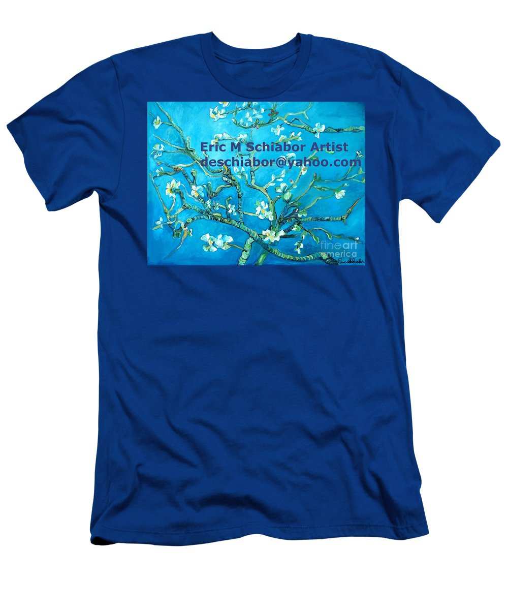 Almond Blossom Van Gogh Men's T-Shirt (Athletic Fit) featuring the painting Almond Blossom Branches by Eric Schiabor