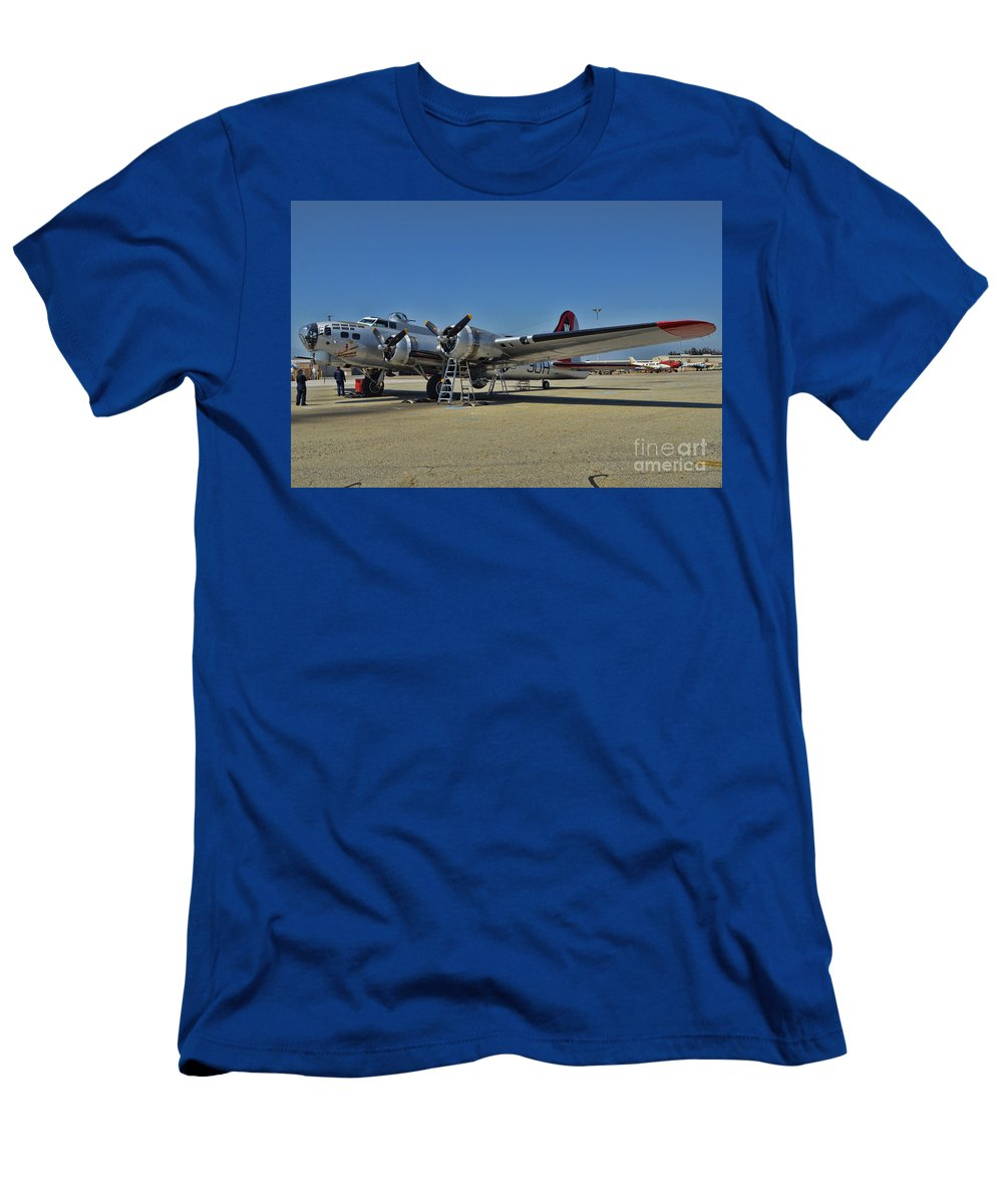 Boeing B-17 Flying Fortress Men's T-Shirt (Athletic Fit) featuring the photograph Aluminum Overcast 5 by Tommy Anderson