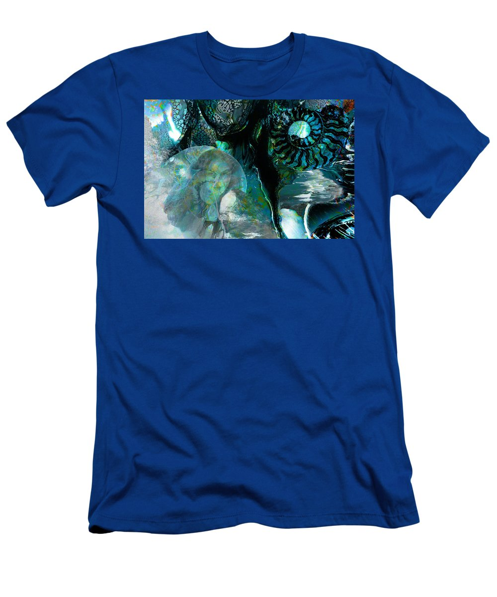 Ocean Men's T-Shirt (Athletic Fit) featuring the digital art Ammonite Seascape by Lisa Yount