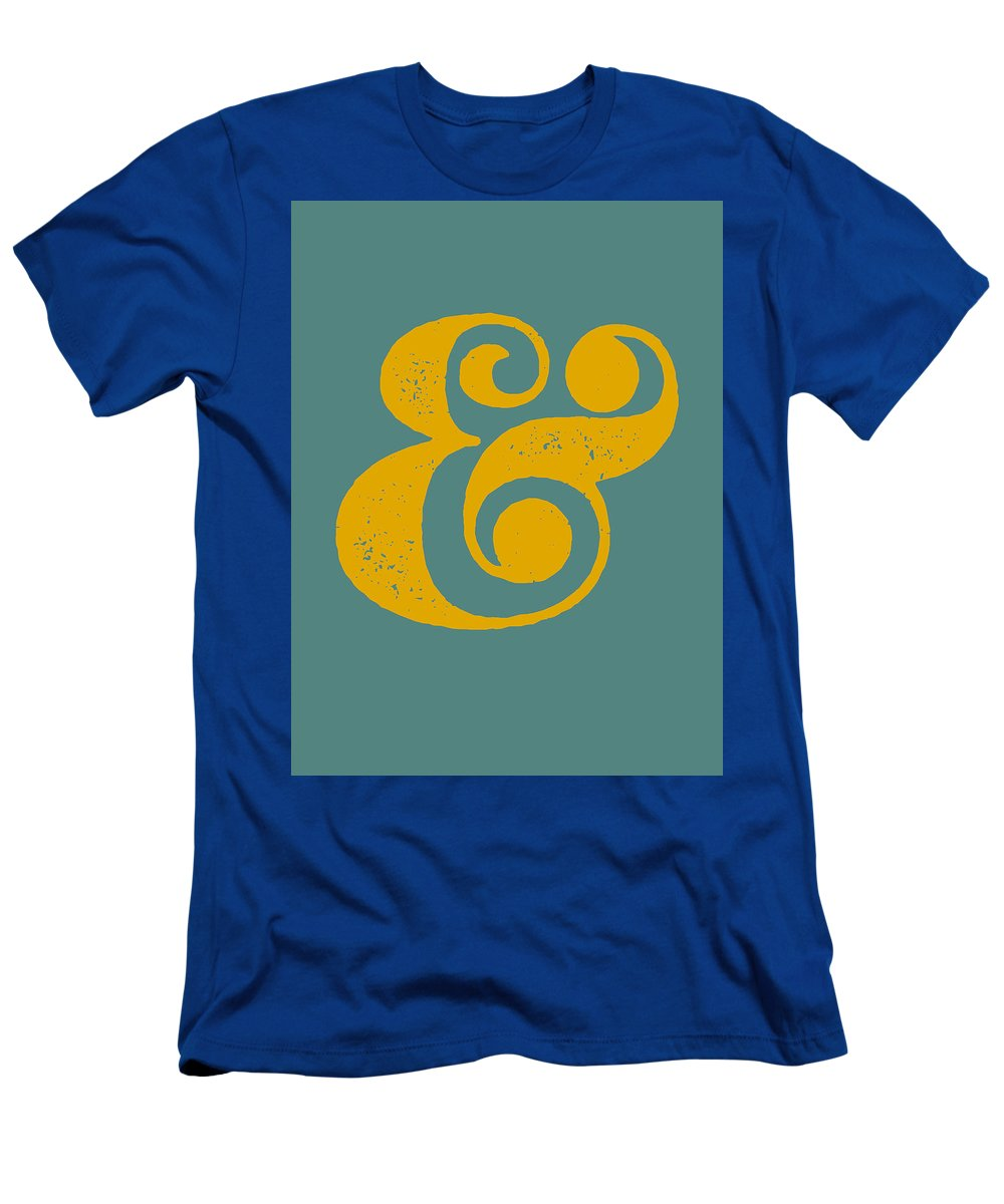 Ampersand T-Shirt featuring the digital art Ampersand Poster Blue and Yellow by Naxart Studio
