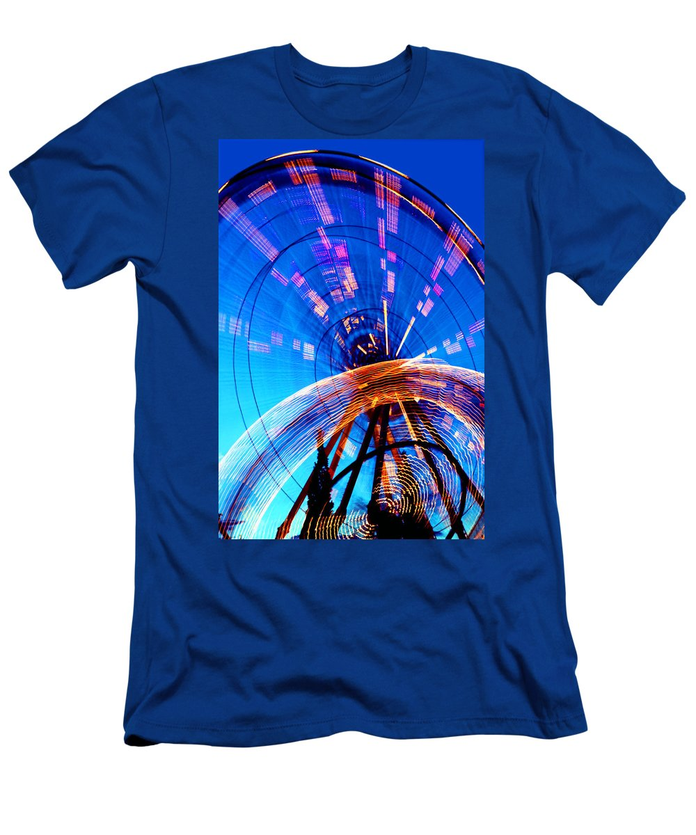 Amusement Park Men's T-Shirt (Athletic Fit) featuring the photograph Amusement Park Rides 1 by Steve Ohlsen