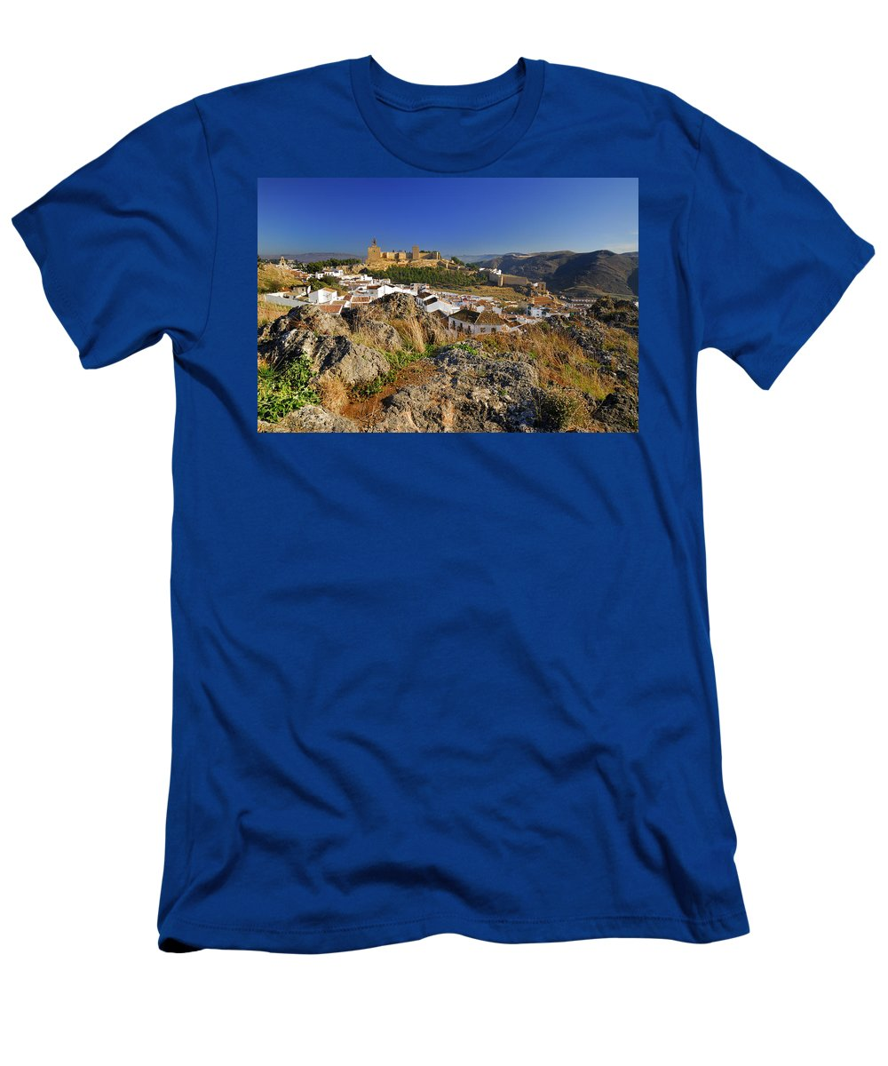 Alcazaba Men's T-Shirt (Athletic Fit) featuring the photograph Antequera Alcazaba by Guido Montanes Castillo