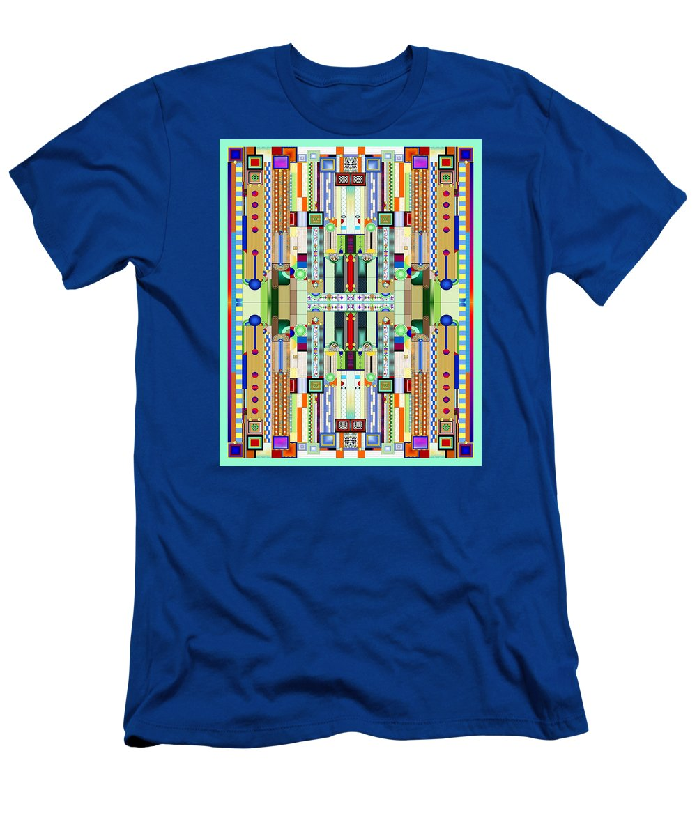 Art Deco Stained Glass Men's T-Shirt (Athletic Fit) featuring the digital art Art Deco Stained Glass 2 by Ellen Henneke