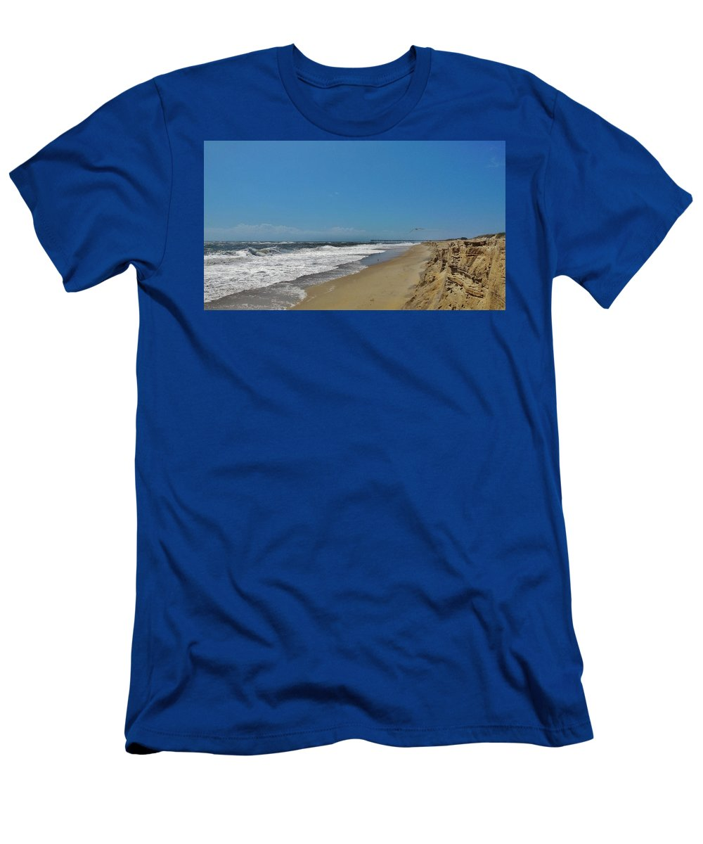 Mark Lemmon Cape Hatteras Nc The Outer Banks Photographer Subjects From Sunrise Men's T-Shirt (Athletic Fit) featuring the photograph Avon Pier 2 8/24 by Mark Lemmon