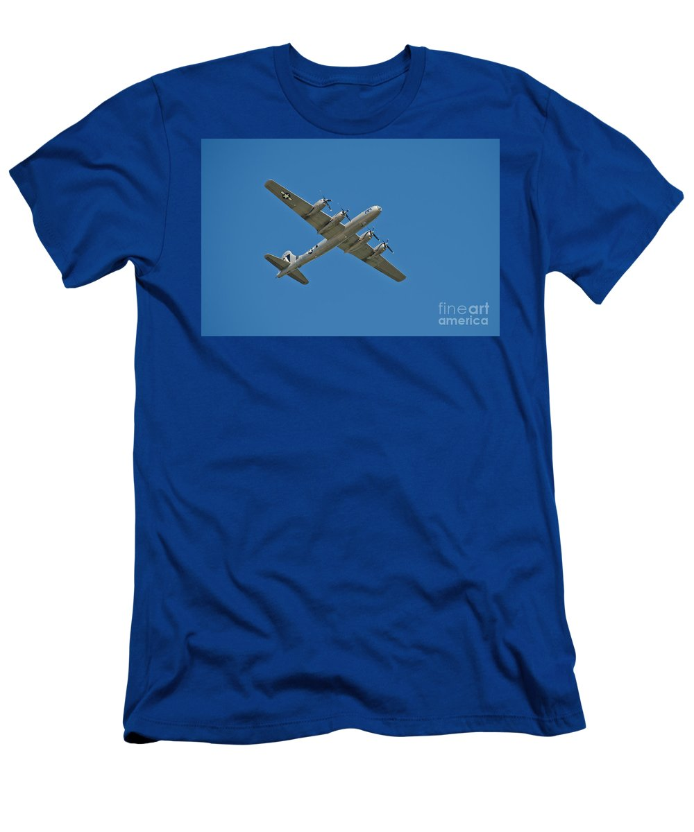 Science Men's T-Shirt (Athletic Fit) featuring the photograph B-29 Bomber Overhead by Anthony Mercieca