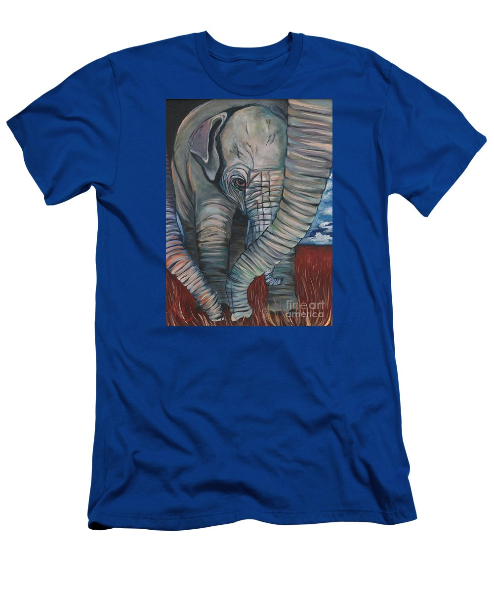 Baby Elephant T-Shirt featuring the painting Baby Comfort by Aimee Vance