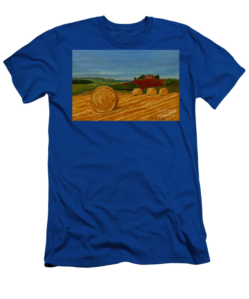 Hay T-Shirt featuring the painting Field Of Golden Hay by Anthony Dunphy