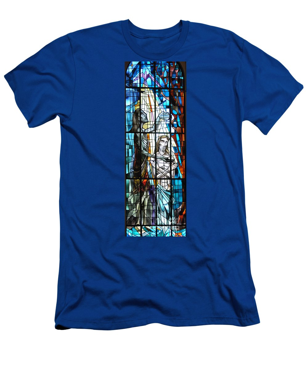 Baptism Men's T-Shirt (Athletic Fit) featuring the photograph Baptism Of Jesus by Savannah Gibbs