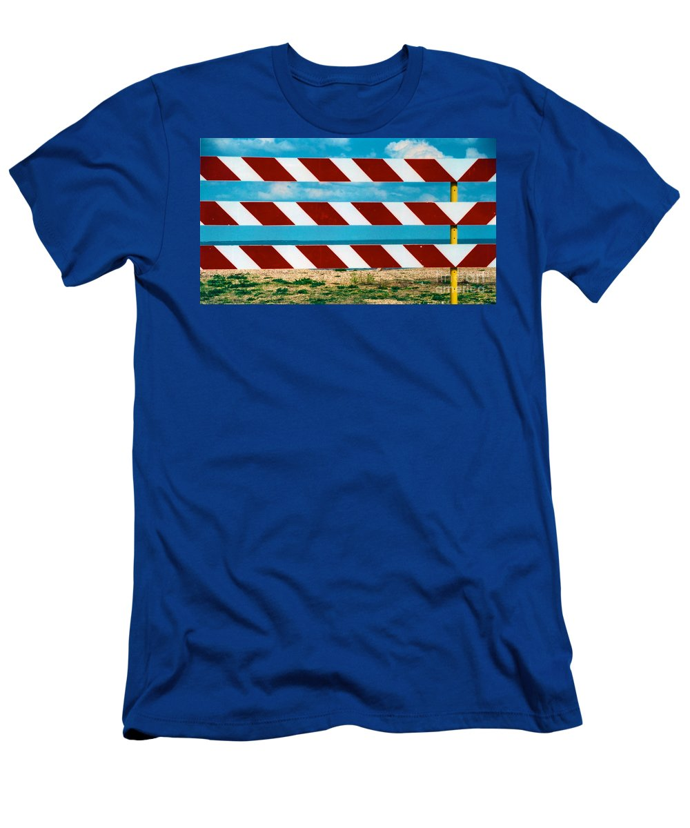 Red Men's T-Shirt (Athletic Fit) featuring the photograph Barrier by Anita Lewis