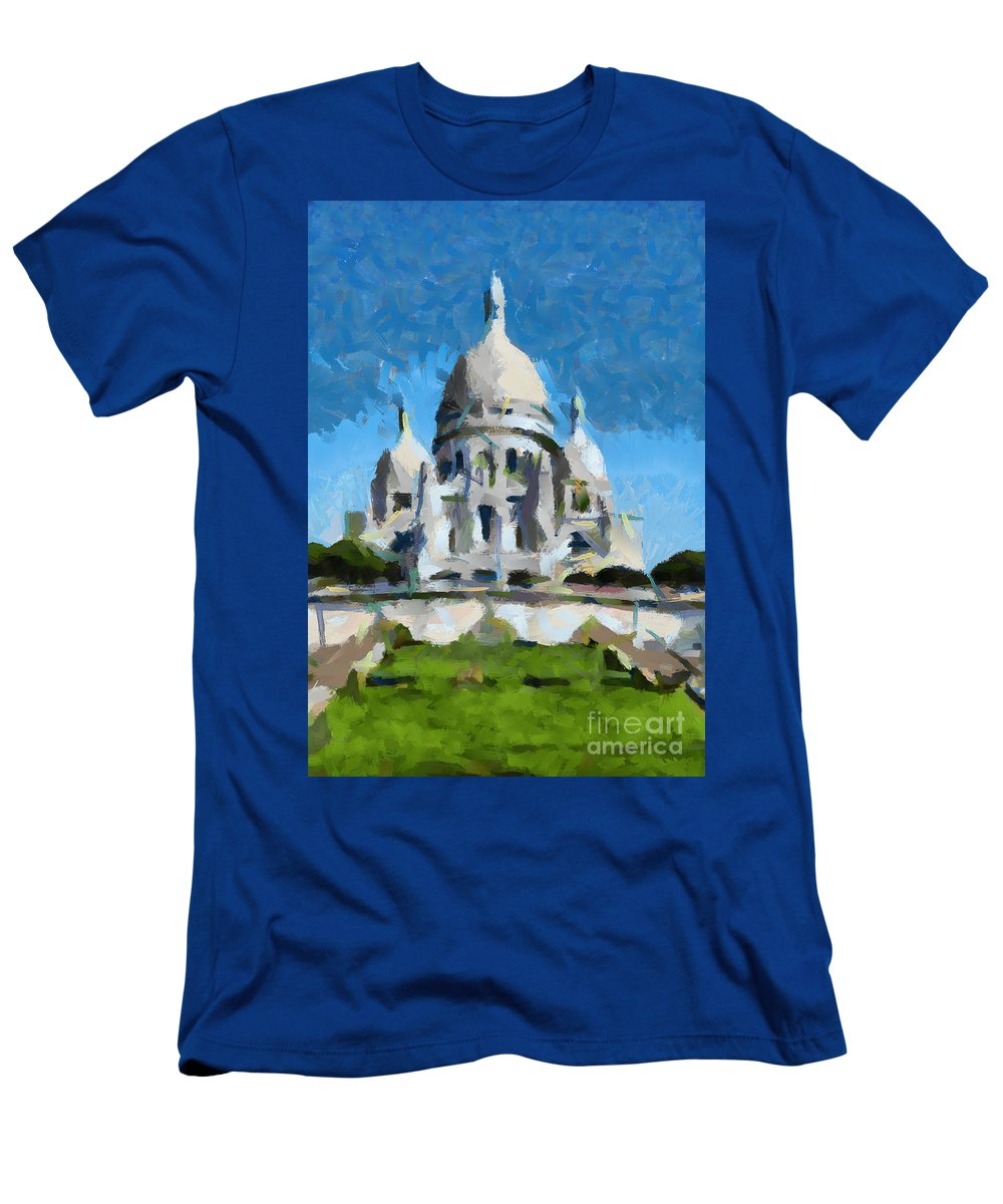 Cityscape Men's T-Shirt (Athletic Fit) featuring the painting Basilica Sacred Heart- Paris by Dragica Micki Fortuna