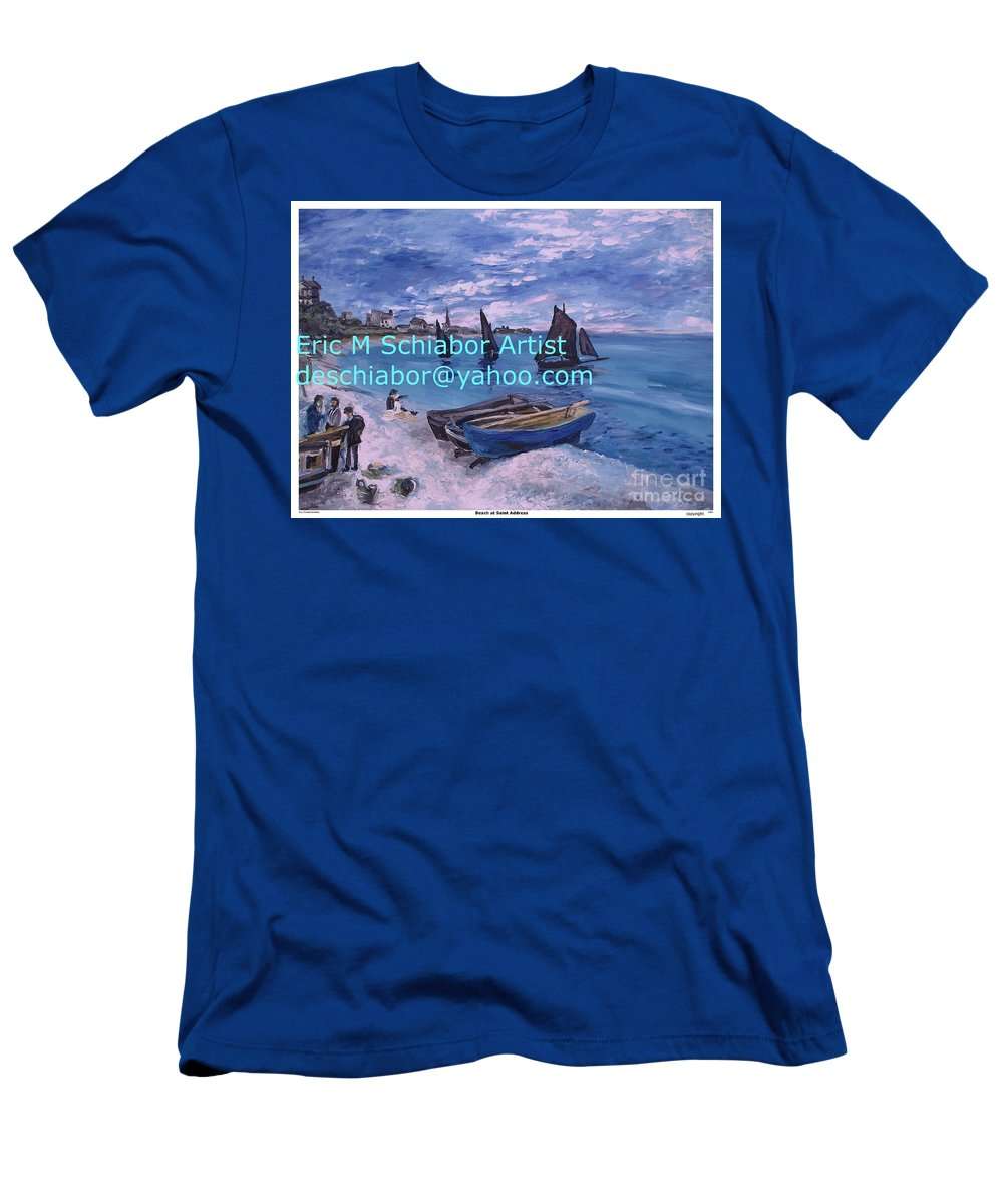 Beach At Saint Address Men's T-Shirt (Athletic Fit) featuring the painting Beach At Saint Address by Eric Schiabor