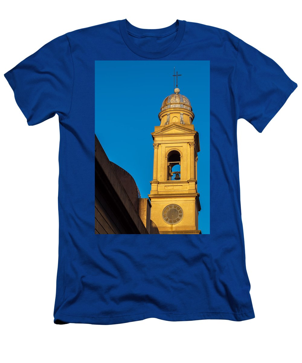 Yellow Men's T-Shirt (Athletic Fit) featuring the photograph Beautiful Yellow Church Steeple by Jess Kraft