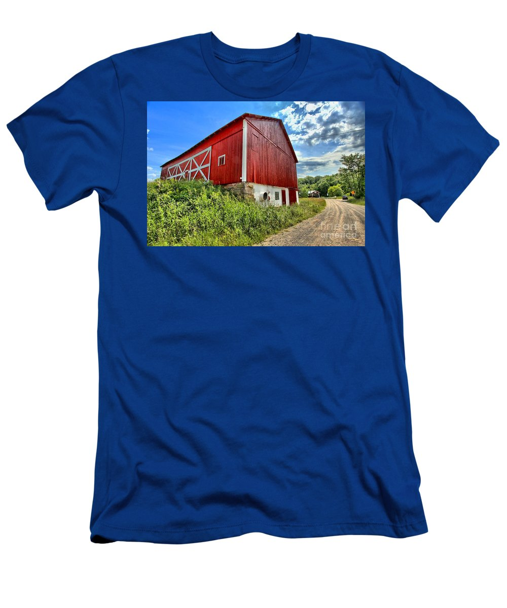Covered Bridge Men's T-Shirt (Athletic Fit) featuring the photograph Big Red Barn by Adam Jewell