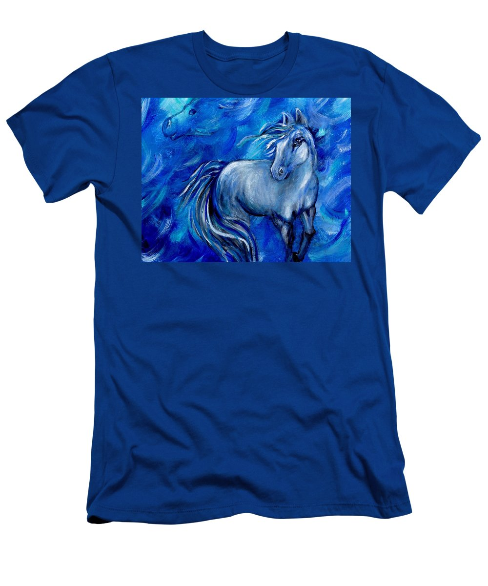 Horse Men's T-Shirt (Athletic Fit) featuring the painting Blowing In The Wind by The Art With A Heart By Charlotte Phillips