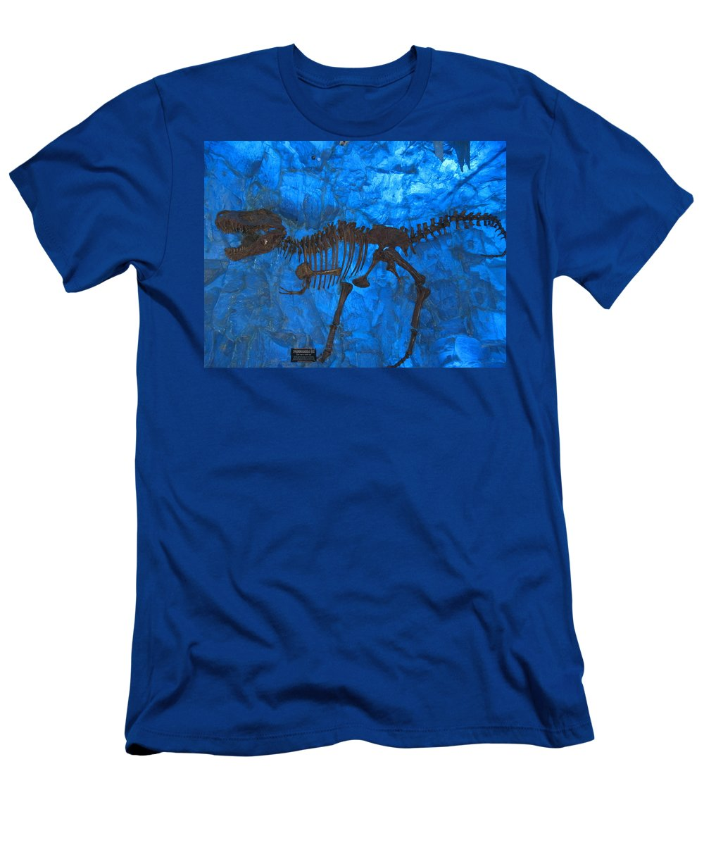 T-rex Men's T-Shirt (Athletic Fit) featuring the digital art Blue Rock by Naomi McQuade