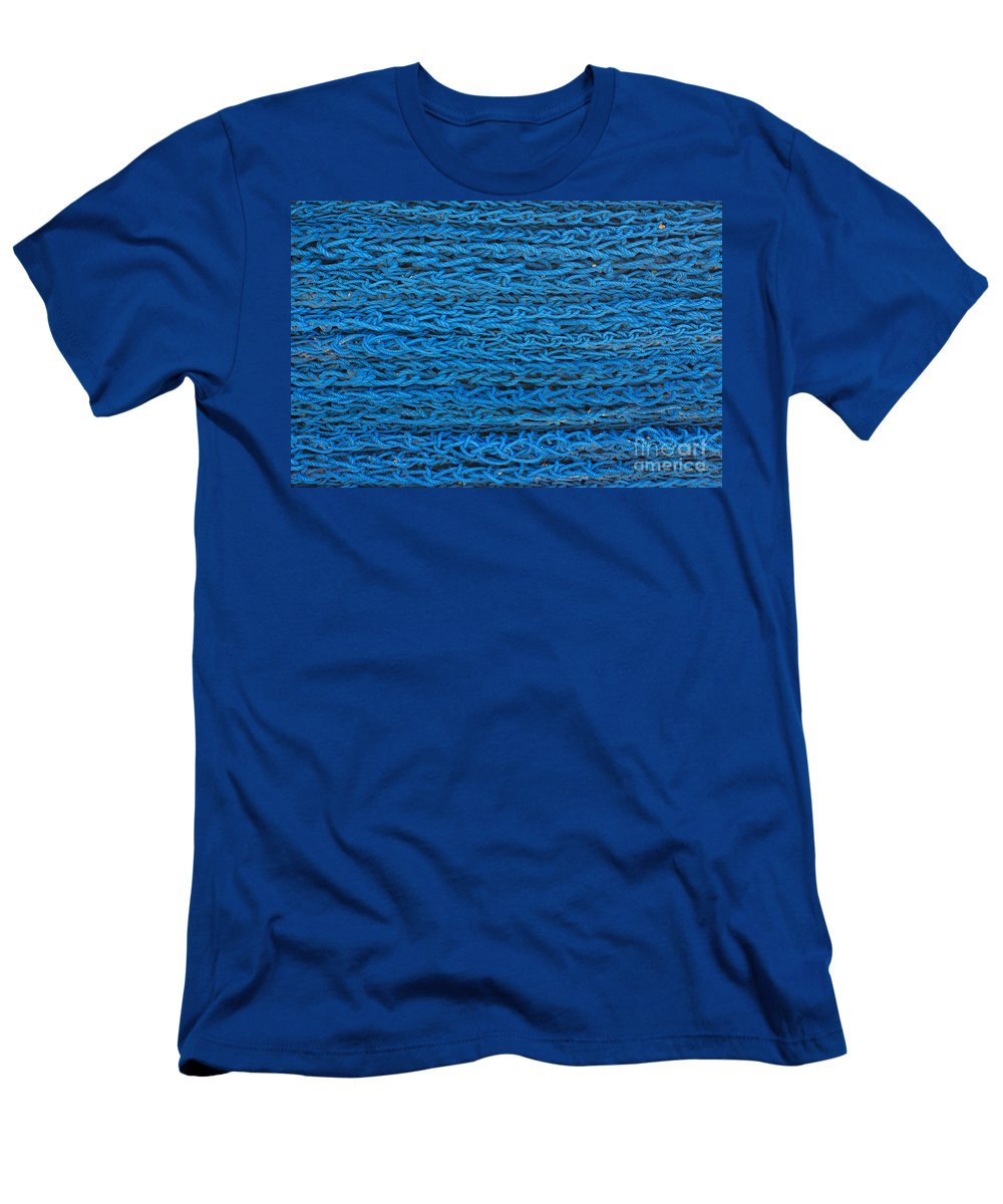 Background Men's T-Shirt (Athletic Fit) featuring the photograph Blue Rope Stack by Jannis Werner
