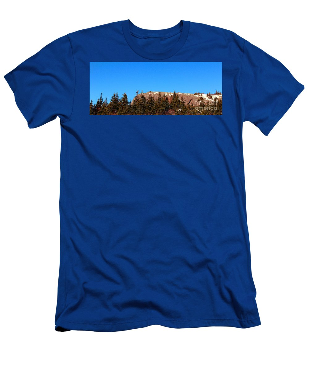 Blue Sky Men's T-Shirt (Athletic Fit) featuring the photograph Blue Sky - Cliff - Trees by Barbara Griffin