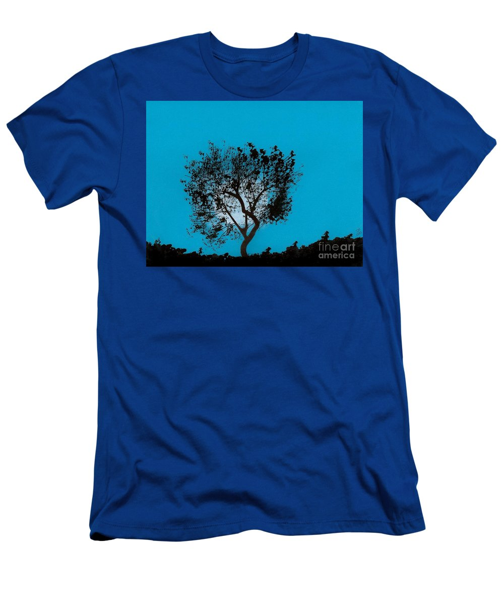 Moon Men's T-Shirt (Athletic Fit) featuring the drawing Blue Sky Moon by D Hackett