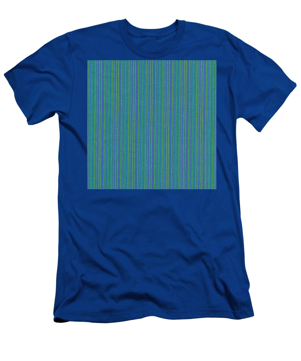 Texture Men's T-Shirt (Athletic Fit) featuring the photograph Blue Teal And Yellow Striped Textile Background by Keith Webber Jr