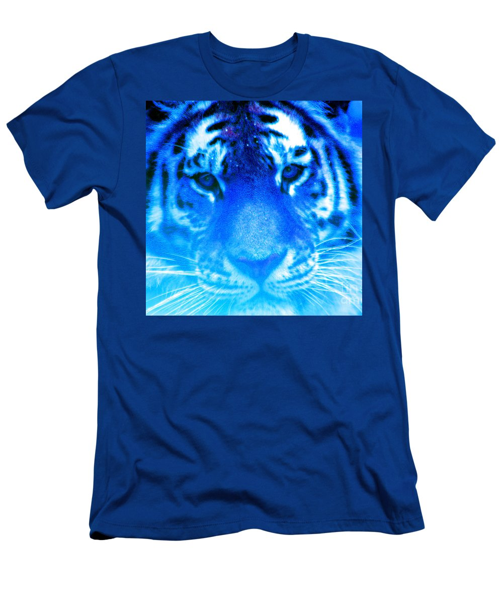 Tiger Men's T-Shirt (Athletic Fit) featuring the photograph Blue Tiger by Nick Gustafson