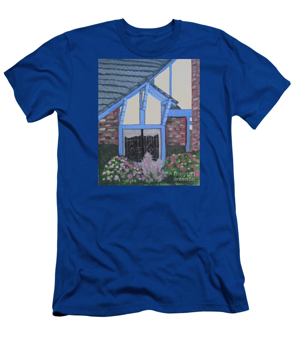 Tudor T-Shirt featuring the painting Blue Tudor Window by Laurie Morgan
