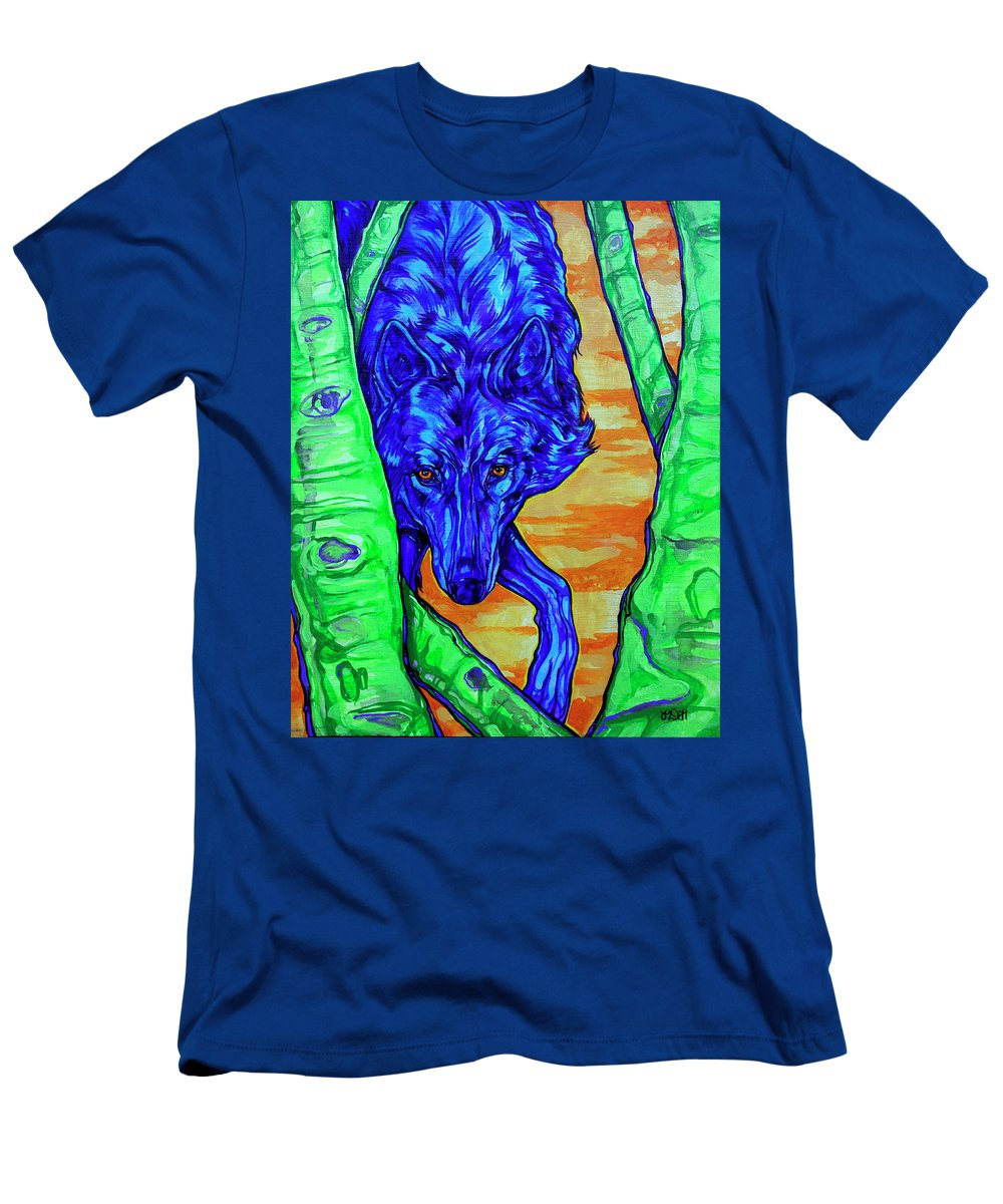 Wolf Men's T-Shirt (Athletic Fit) featuring the painting Blue Wolf by Derrick Higgins