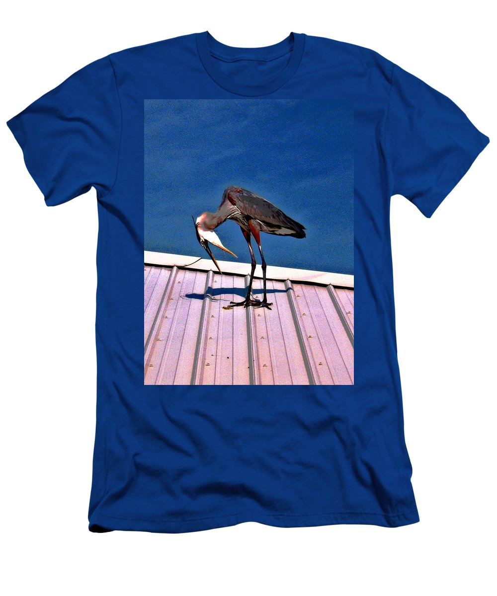 Heron Men's T-Shirt (Athletic Fit) featuring the photograph Bowing Blue Heron by Marian Bell