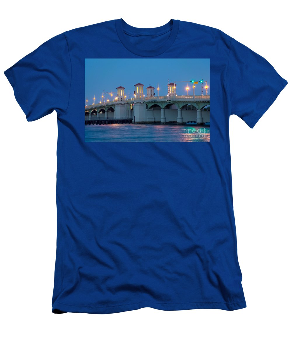 Florida Men's T-Shirt (Athletic Fit) featuring the photograph Bridge Of Lions At Dusk St Augustine Florida by Bill Cobb