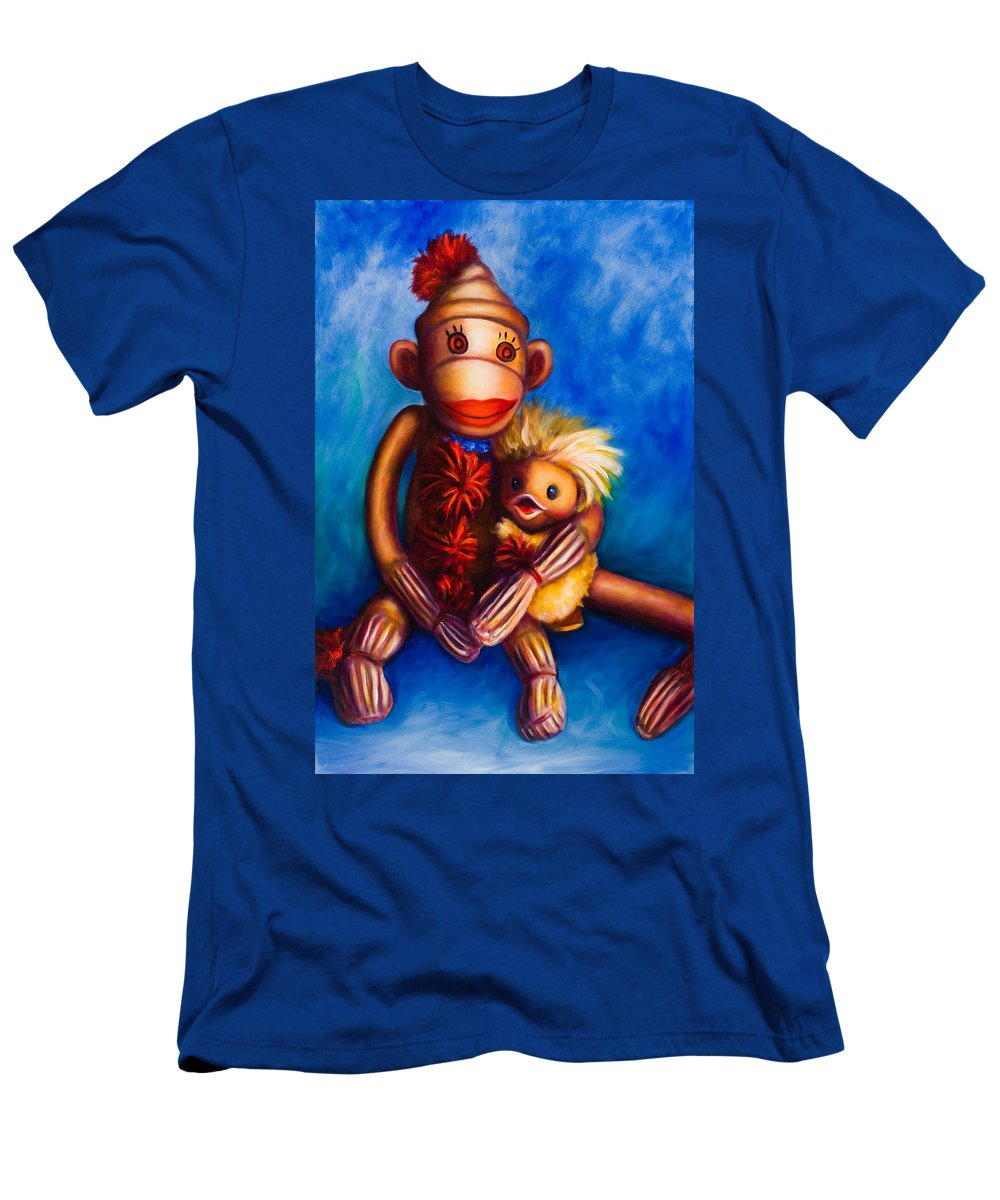 Sock Monkeys Brown Men's T-Shirt (Athletic Fit) featuring the painting Buddies by Shannon Grissom