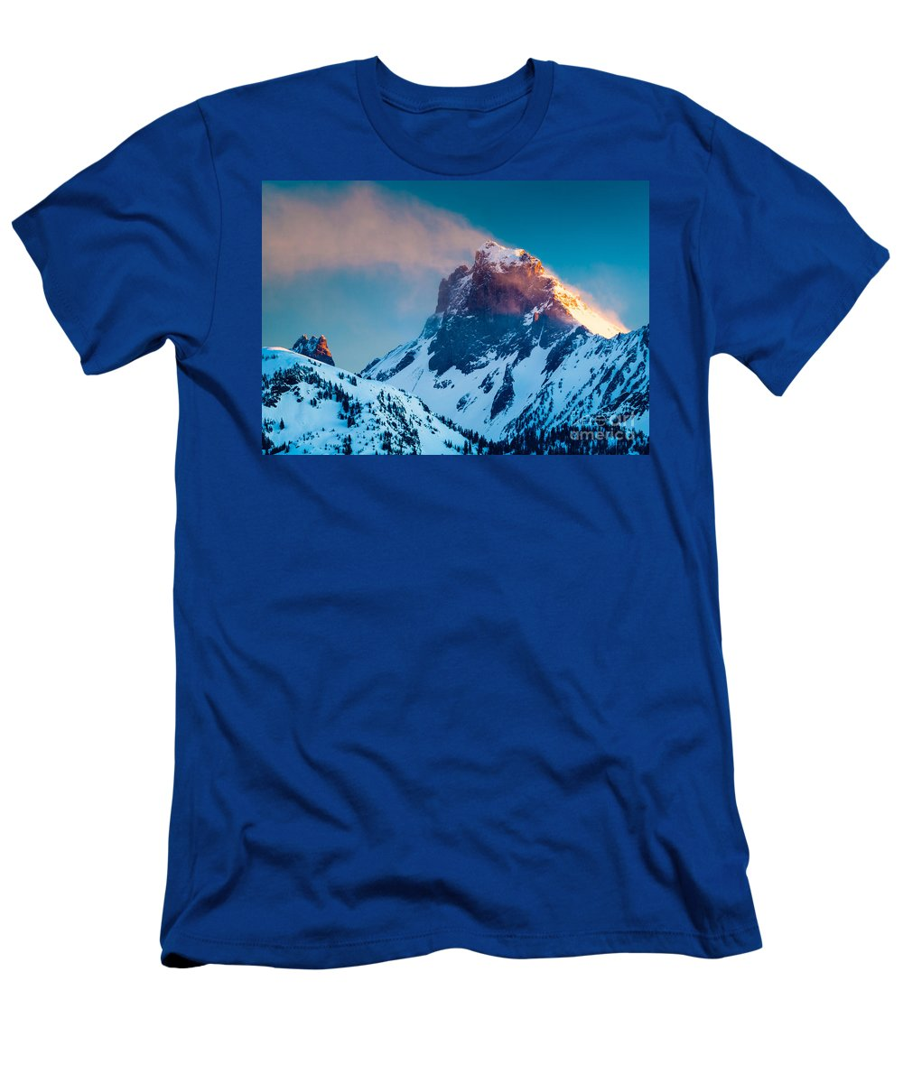 America Men's T-Shirt (Athletic Fit) featuring the photograph Burning Peak by Inge Johnsson