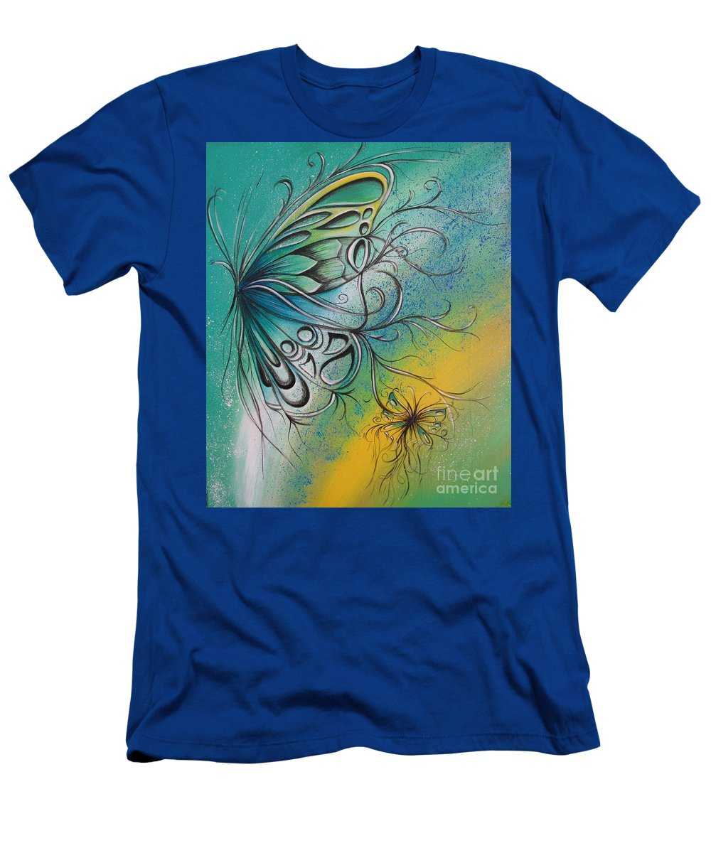Reina Men's T-Shirt (Athletic Fit) featuring the painting Butterfly 5 by Reina Cottier