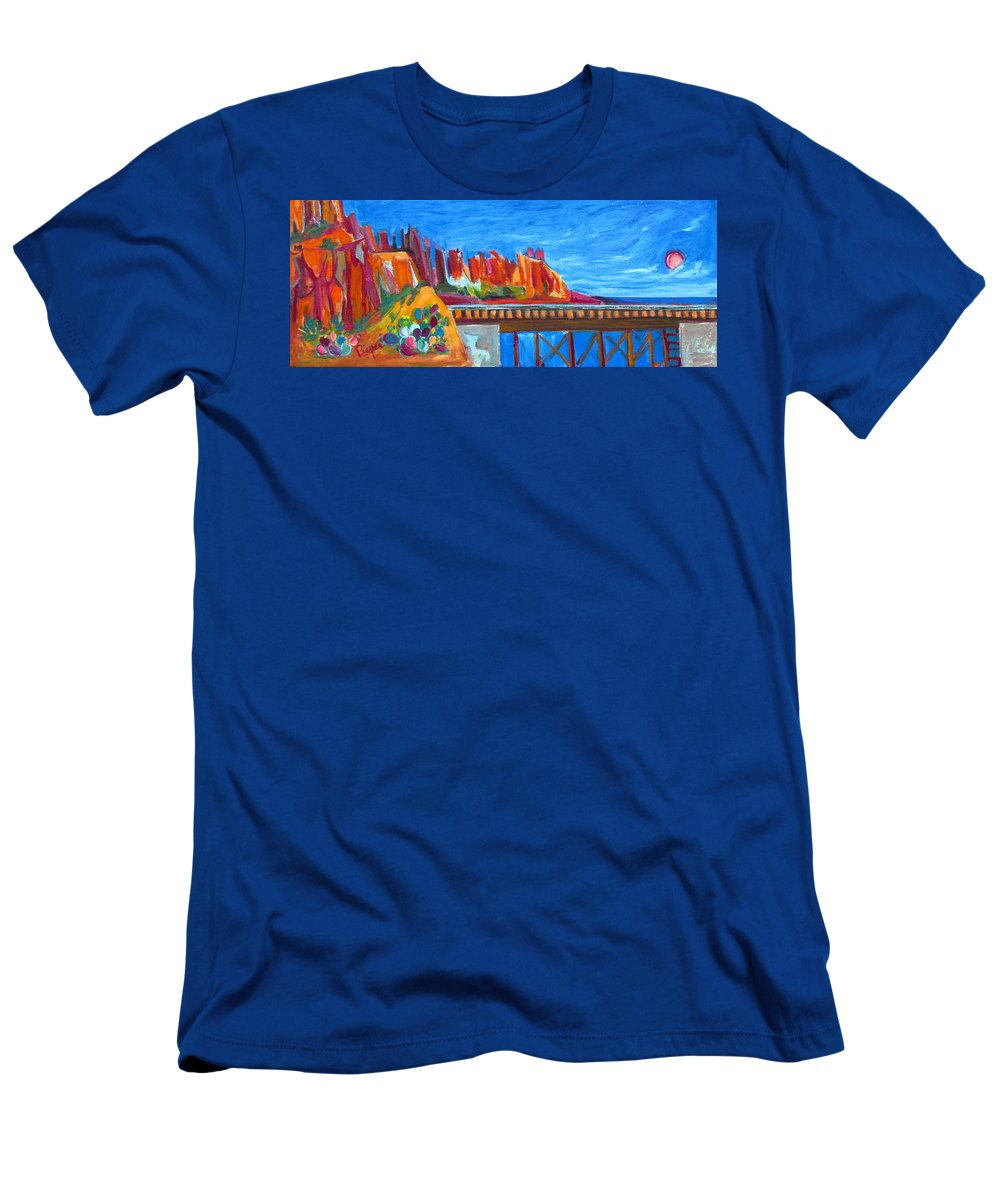 Southwest Scene Men's T-Shirt (Athletic Fit) featuring the painting Cacti With Red Rocks And Rr Trestle by Betty Pieper
