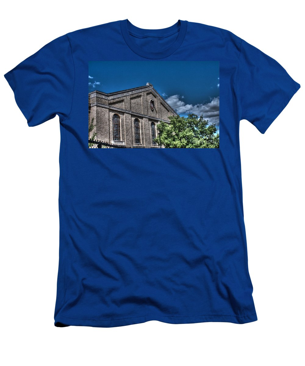 Camp Randall Men's T-Shirt (Athletic Fit) featuring the photograph Camp Randall Field House by Tommy Anderson